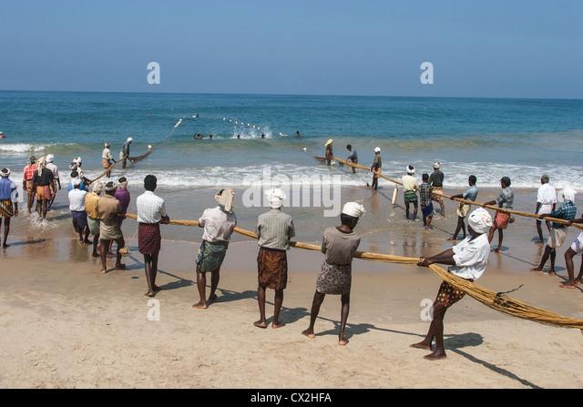 India Kerala Kovallam fishermen - Stock Image