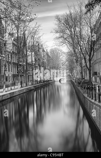 Black and white Amsterdam - Stock Image