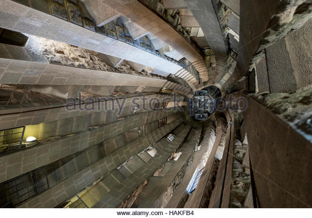 Interior of La Sagrada Familia in Barcelone, Spain - Stock Image