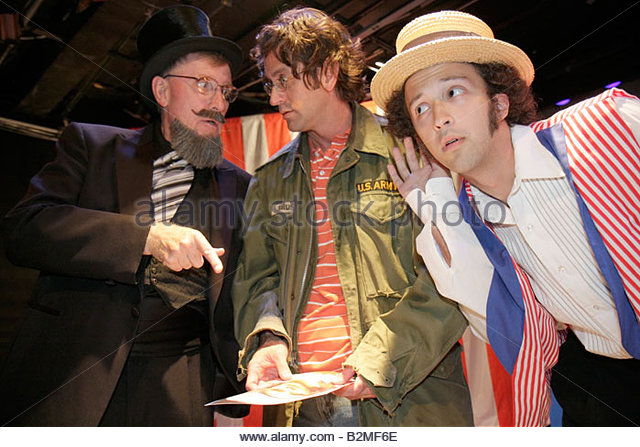 Indiana Valparaiso Chicago Street Theatre Assassins characters drama man men actor performer play stage costume - Stock Image