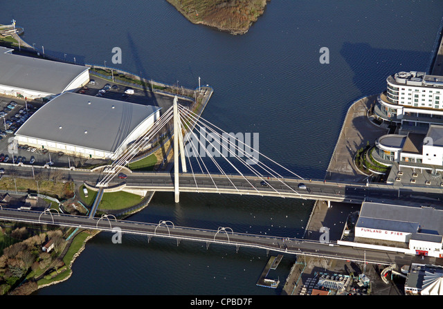 aerial view of the Marine Parade Bridge, Southport Marina - Stock Image