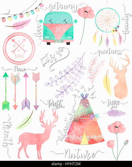Tipic boho elements with watercolor effect. - Stock Image