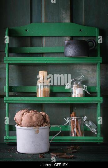 Mug with chocolate ice cream - Stock Image