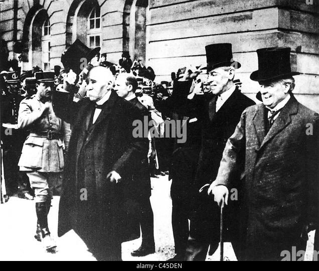 Clemenceau, Wilson, George after the signing of the Peace Treaty of Versailles - Stock Image