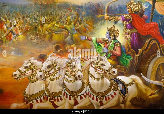 Jalaram Prathna hindu temple, Leicester. Fresco. Krishna the charioteer guiding Arjuna in the battlefield of Kurukshetra. - Stock Image