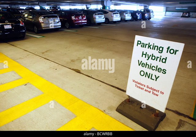 Privileged garage parking for hybrid cars, Boston - Stock Image