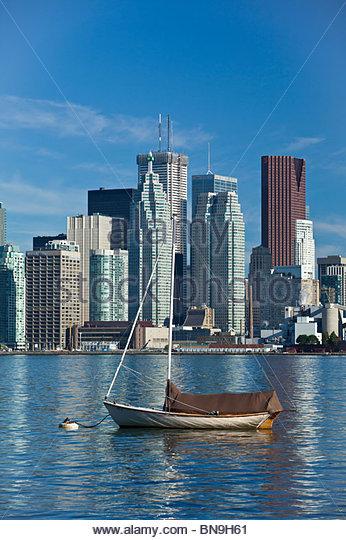 Skyline from Toronto Island Park in Toronto Ontario Canada - Stock Image