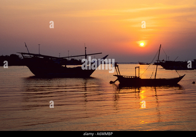 Batin harbour at sunset Abu Dhabi United Arab Emirates - Stock Image