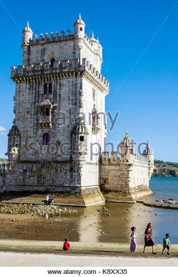 Portugal Lisbon Belem Tagus River waterfront landmark Torre de Belem Belem Tower medieval fortification UNESCO World - Stock Image