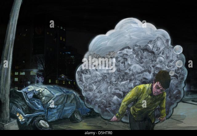 Illustration of drunken man carrying bottles with crashed car in background - Stock Image