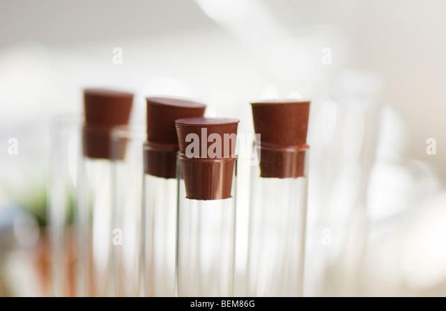 Test tubes, close-up - Stock Image