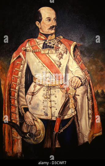 Oil painting of Count Josip Jelacic von Buzim who was a noted army general, remembered for his military campaigns - Stock Image
