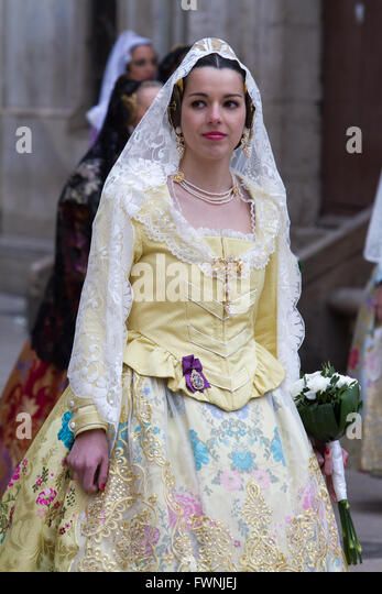 Woman in traditional costume Valencia Spain - Stock Image