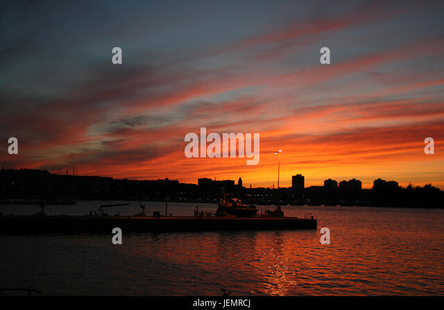 Sunset in Helsinki - Finland - Stock Image