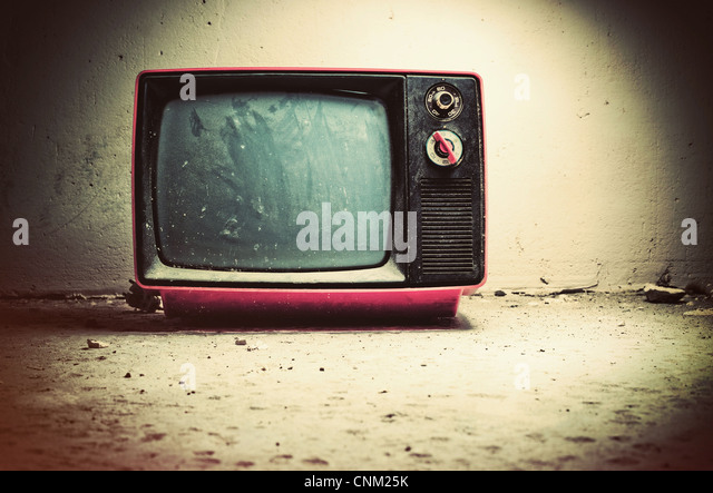 Old TV in room. Retro style colors. - Stock-Bilder