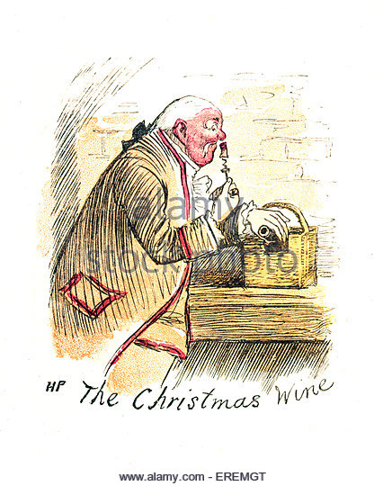 Victorian Christmas card, 'The Christmas Wine'. Courtesy of the V&A, London, UK. - Stock Image