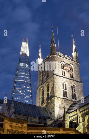 Southwark Cathedral, The Shard, Skyscraper, London, United Kingdom, - Stock Image