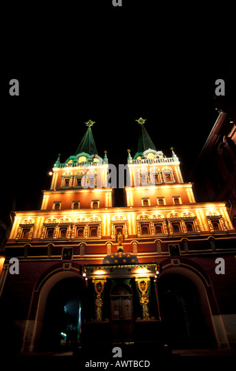 Mosocw Russia Red Square Ascension Gates at night - Stock Image