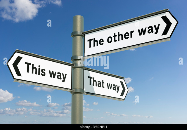This way, That way, The other way - decision / life choices concept sign post - change concept - Stock Image