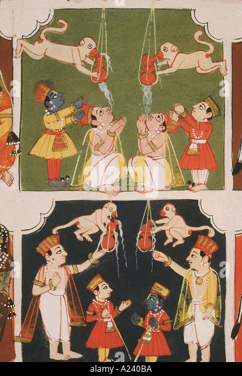Krishna steals butter. Malwa. Dated: 1690 A.D. - Stock Image