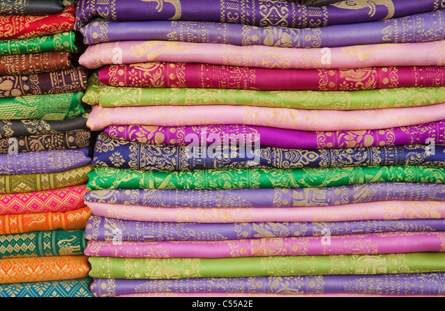 Detail of silk fabric, Phnom Penh, Cambodia - Stock-Bilder