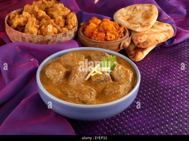 INDIAN LAMB MADRAS MEAT CURRY MEAL - Stock Image