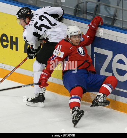 Norway versus Germany, World Ice Hockey Championship - Stock Image