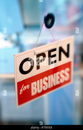 Open for business sign - Stock-Bilder