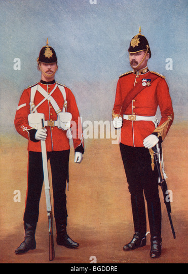 Uniforms of the Royal Marines in the late 19th century. - Stock Image