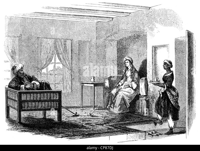 The reception room of Hester Lucy Stanhope, 1776 - 1839, English adventurer, she ruled an empire in the local Druze - Stock Image