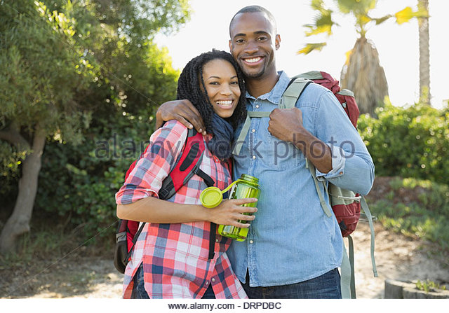Affectionate couple hiking - Stock-Bilder