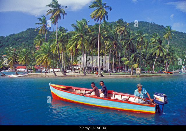 St Lucia  Marigot Bay local fishing boat - Stock Image