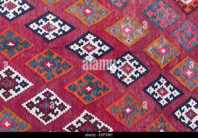 Old kilim, woven rug, detail, Iran, Persia - Stock Image