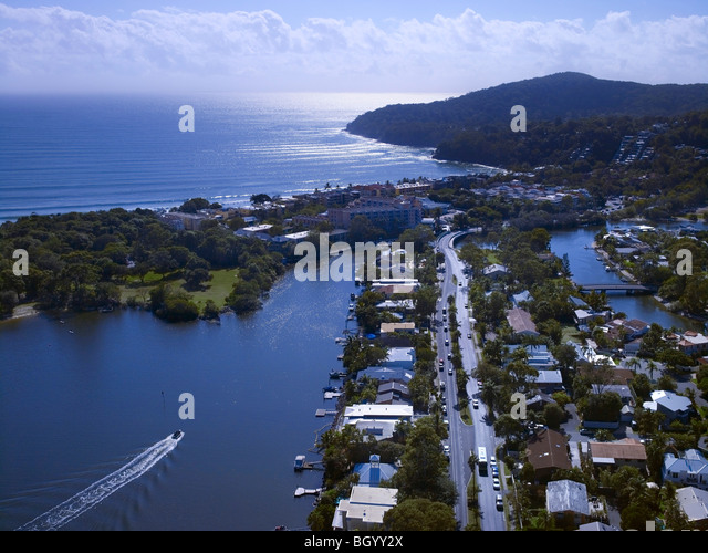 Aerial view of Noosa Heads, Queensland Australia - Stock Image