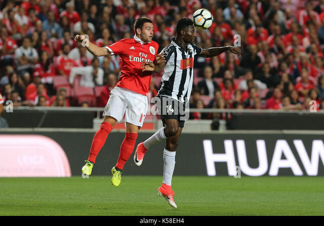 Benfica«s forward Andrija Zivkovic from Serbia (L) and Portimonense«s defender Emma Hackman from Ghana - Stock Image