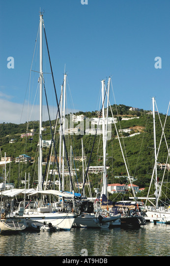 British Virgin Islands Tortola Road Town Sailboats at anchor - Stock Image