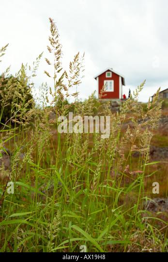 one red cottage - Stock-Bilder