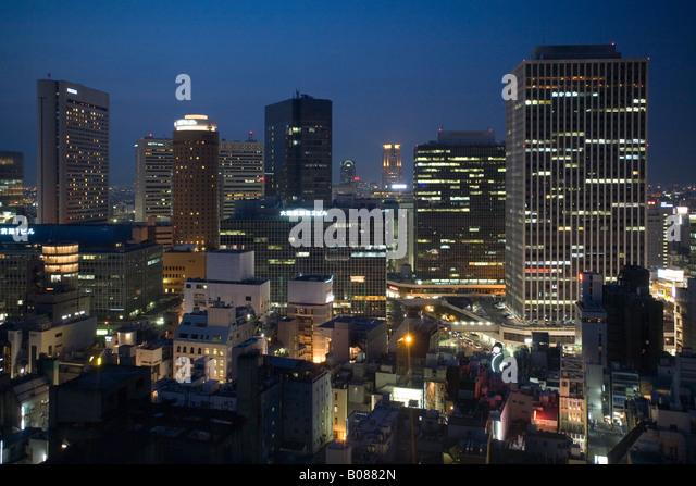 Japan Osaka at night - Stock Image