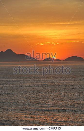sunrise over Guanabana bay Rio de Janeiro Brazil - Stock Image