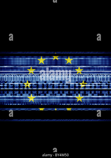 The European Flag blended with an illustration of binary code, representing data, security, internet, global telecomunications - Stock Image