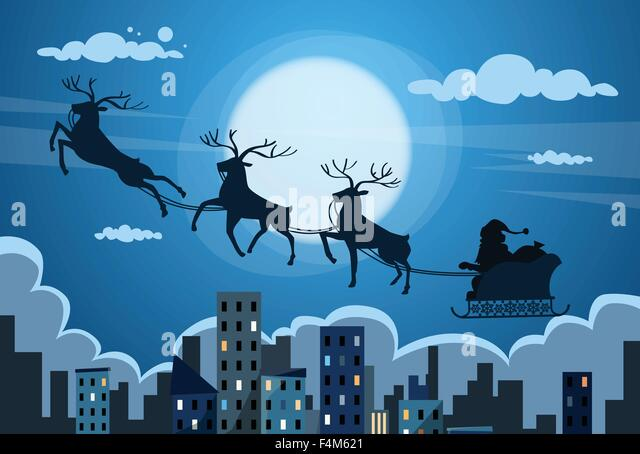 Santa Claus Sleigh Reindeer Fly Sky over City Skyscraper Night View Cityscape Snow Skyline Christmas New Year Card - Stock Image