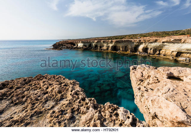 Coastline with Caves, Cape Greco, National Forest Park, Agia Napa, Cyprus - Stock-Bilder