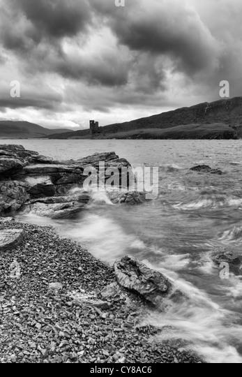 Sutherland, Ardwreck Castle and Loch Assynt - Stock Image