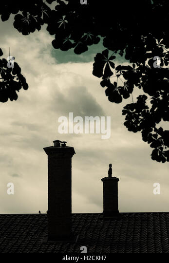 Silhouette of rooftop, chimney and tree of old house with dark, mysterious and moody setting. - Stock-Bilder