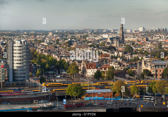 The Netherlands, Amsterdam, Aerial view from building called Toren Overhoeks. City center. Church called Westerkerk. - Stock Image