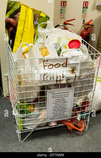 Food Collection Box at a Charity Shop, UK - Stock Image
