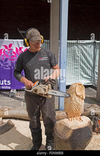 Wood carving animal uk stock photos