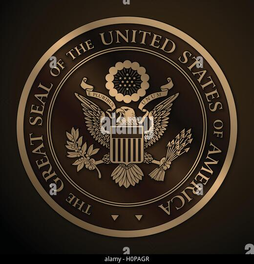 The Great Seal of the US Gold - Stock Image