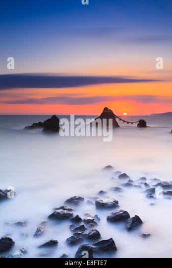 Japan, Mie Prefecture, Picture of Husband and Wife Rock - Stock Image