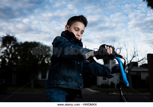 Boy on his bicycle - Stock-Bilder